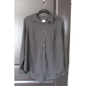 Black chiffon button up dress shirt.
